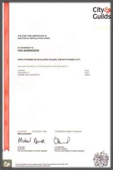 Guild certificate 1